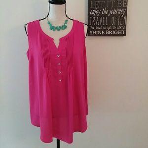Daniel Rainn Sleeveless Hot Pink Blouse Size:M